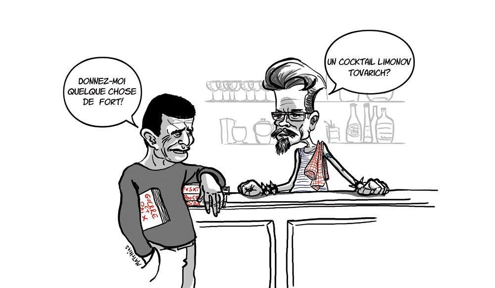 Carrère e Limonov in una vignetta di Mathias per Paris Match