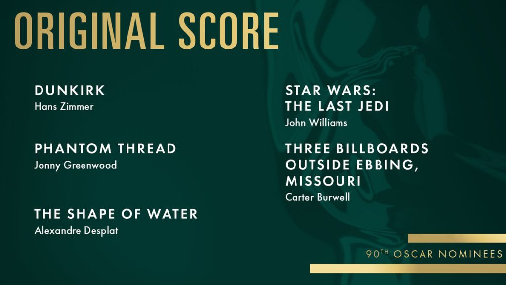 Miglior Colonna Sonora Originale, Oscar 2018