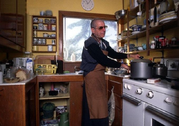 Leonard Cohen Preparing food for his fellow Buddhist types at the Mt. Baldy Zen Center