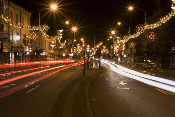 Luci per Diwali a Belgrave Road, Leicester
